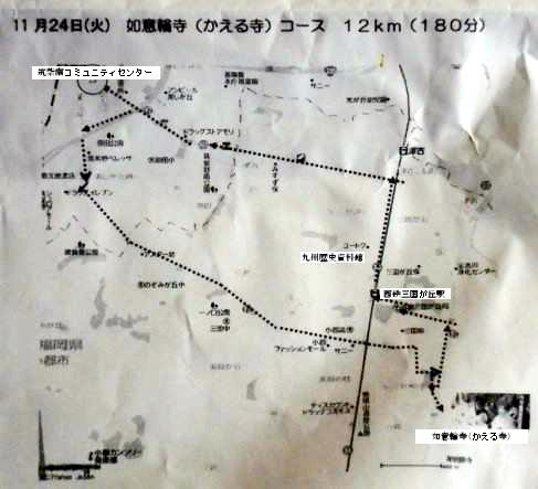 カエル寺コースの地図